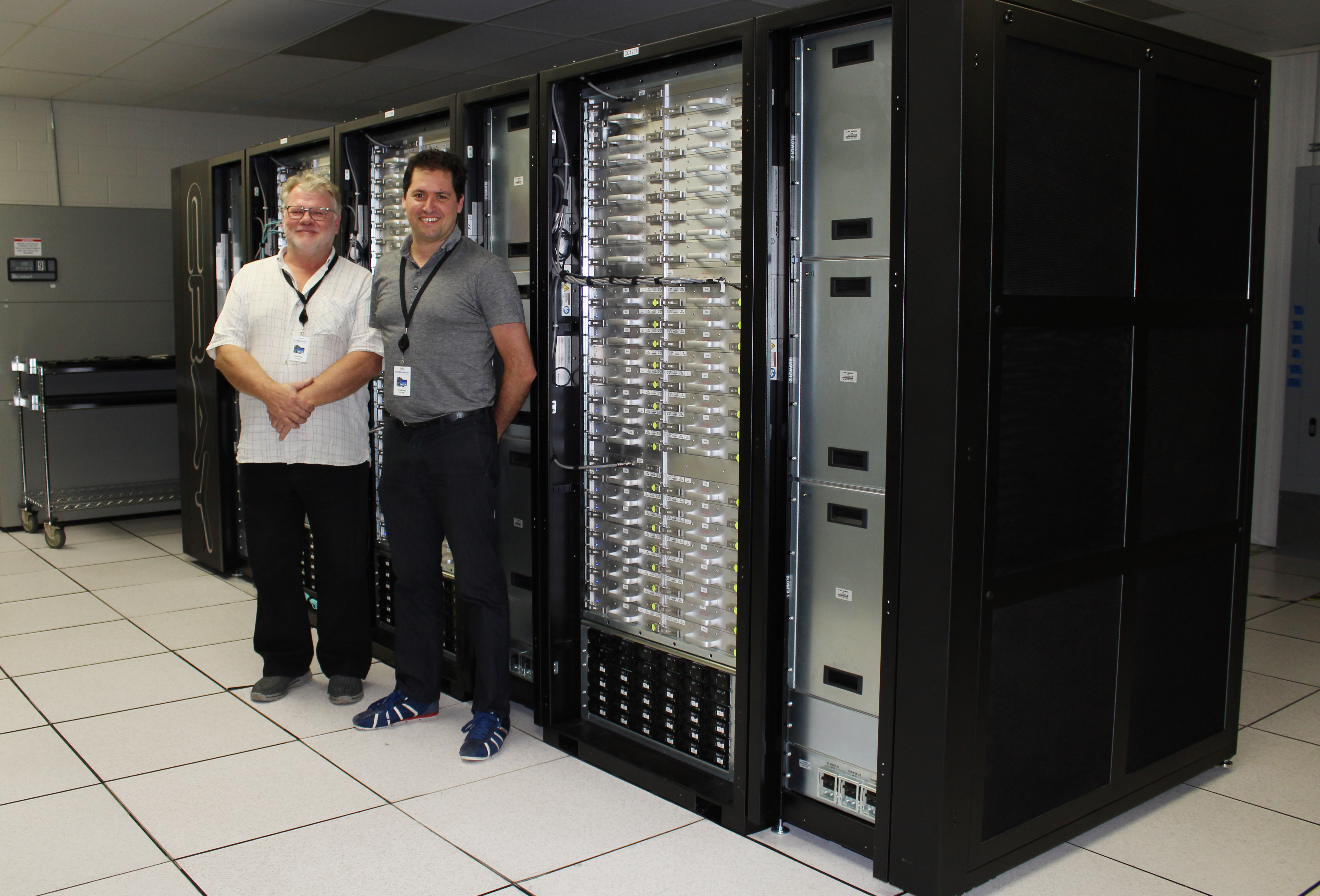 NeSI's Fabrice Cantos and Greg Hall at the Cray factory checking in on our XC50