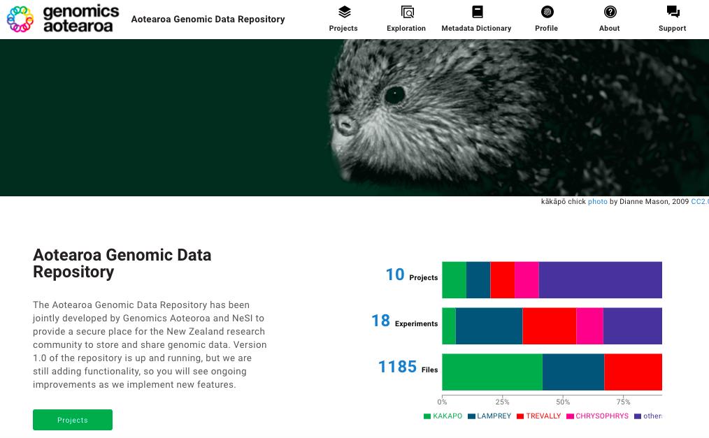 homepage screenshot of the data repository website
