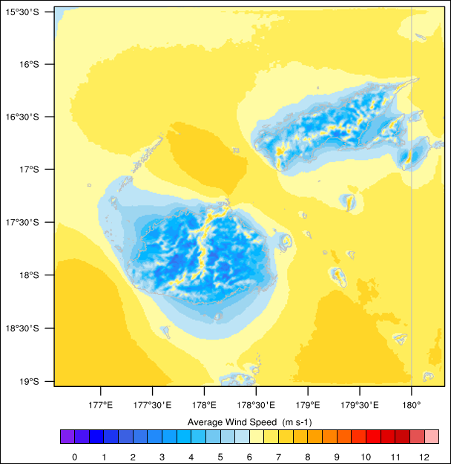 Figure 1. 10-year mean 55-metre-elevation wind speed map of Fiji at 1 km × 1 km grid resolution.