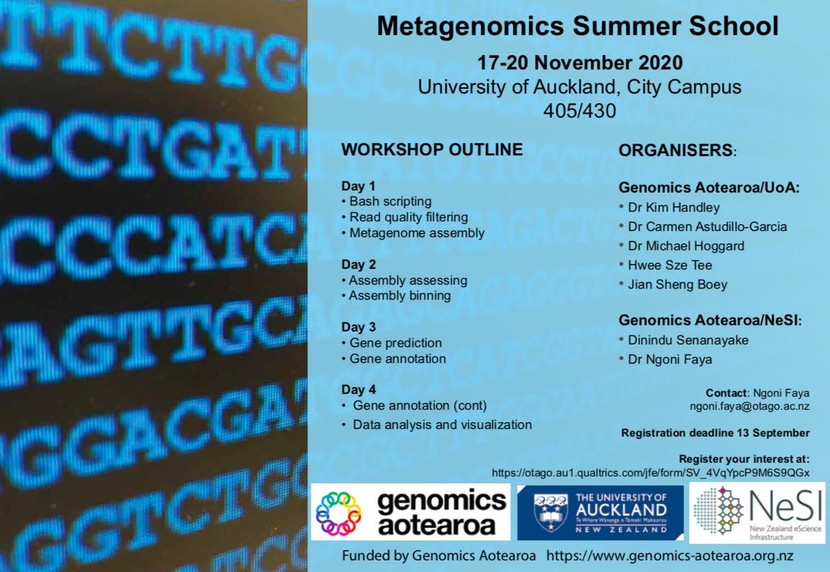 2020 Metagenomics Summer School poster November 17-20 NeSI Genomics Aotearoa University of Auckland