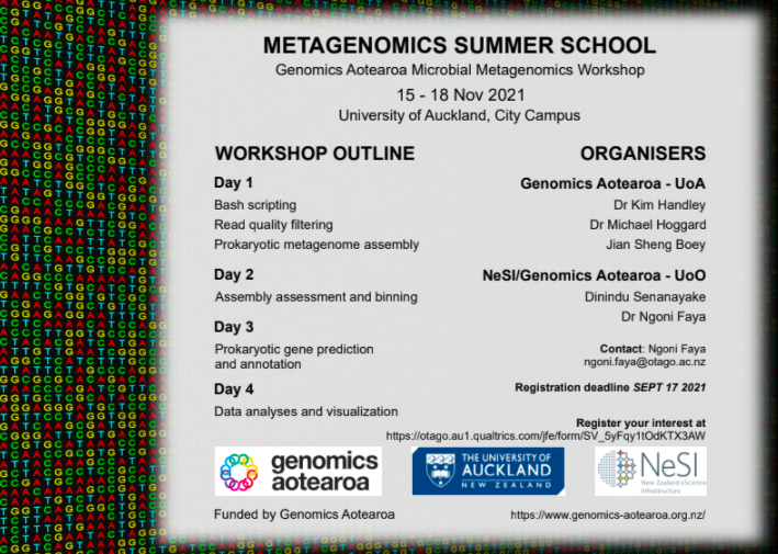 Poster detailing the programme for the 2021 Metagenomics Summer School
