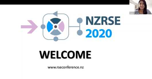 A screenshot of the opening remarks of the NZRSE Conference, including a picture of Nooriyah Lohani, NeSI Research Communities Advisor.