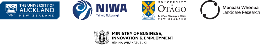 Logos of the University of Auckland, NIWA, University of Otago, Manaaki Whenua - Landcare Research, and MBIE