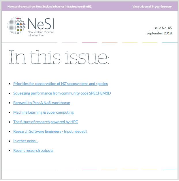 NeSI Newsletter mailing list