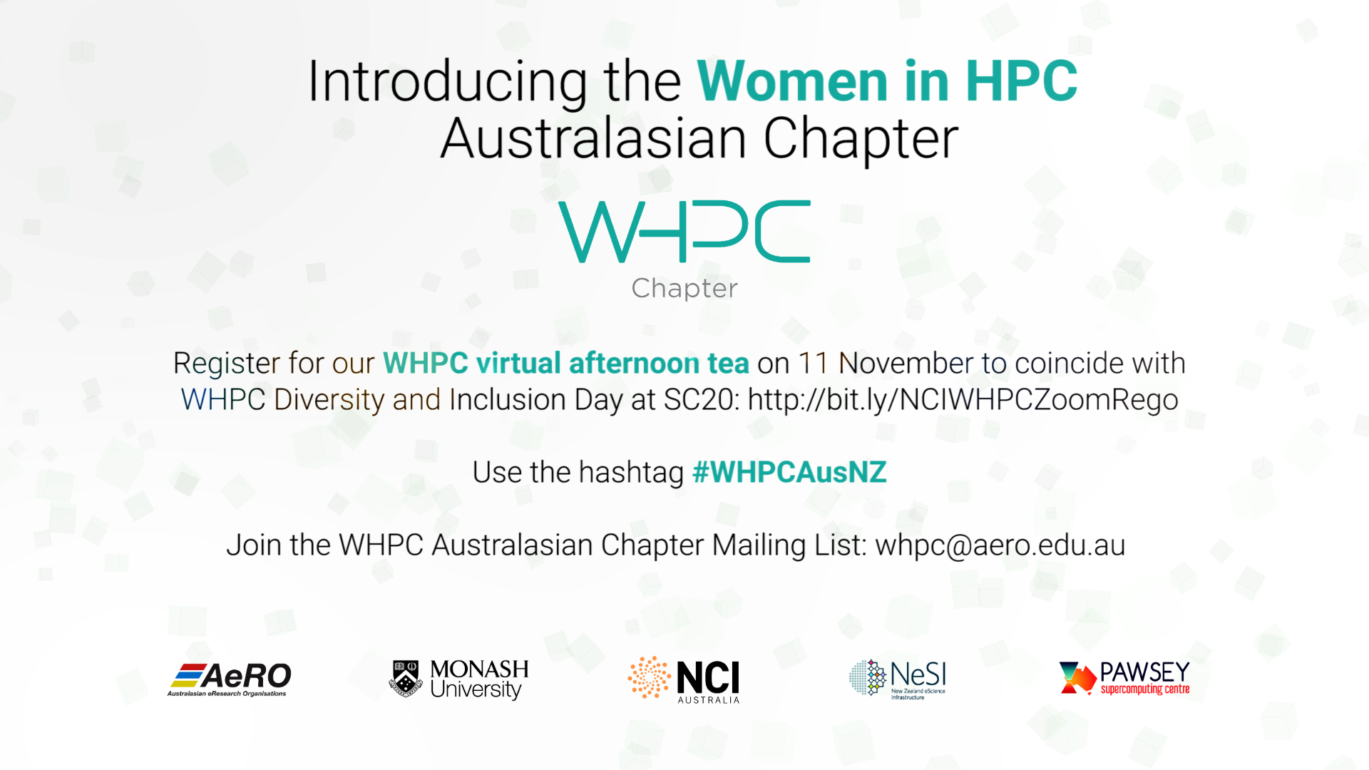 Invitation details for Australasia HPC Chapter afternoon tea event, Nov 11 at 2:30 pm AEDT