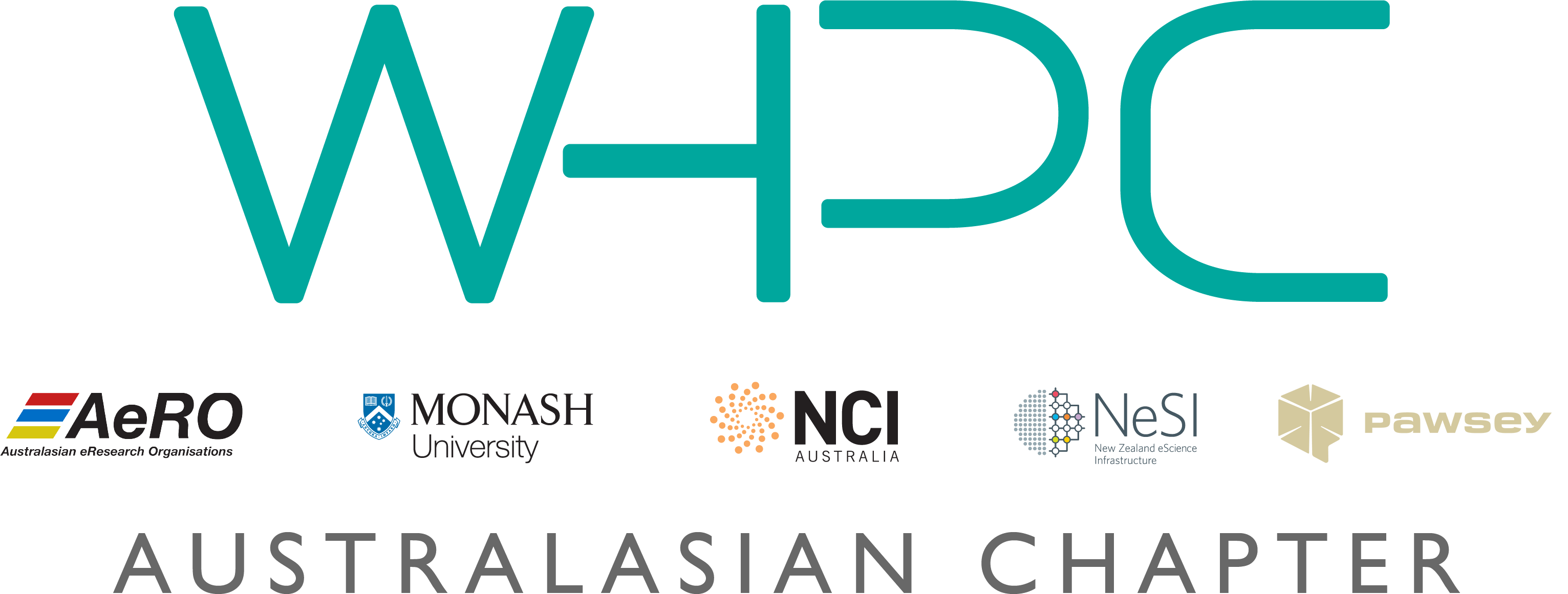 WHPCAusNZ logo - the letters WHPC with the logos of the founding organisations featured below - NeSI, Pawsey, NCI, AeRO, Monash